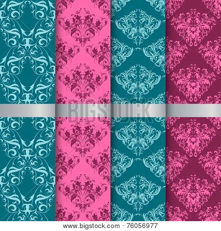 Set Filigree Damask Seamless Patterns