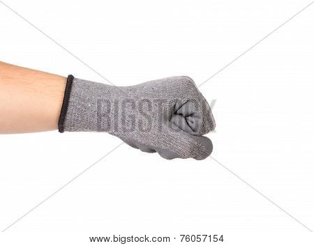 Strong male worker hand glove clenching fist.