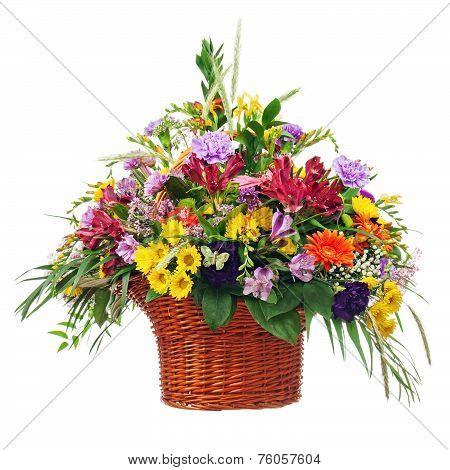 Flower Bouquet Arrangement Centerpiece In Basket Isolated On White Background.