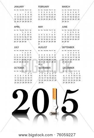 New Year resolution Quit Smoking Calendar with the 1 in 2015 being replaced by a stubbed out cigarette. EPS10 vector format.