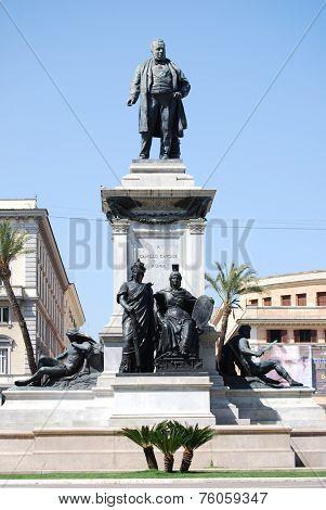 Monument to Camillo Benso di Cavour in Piazza Cavour, Rome, Italy