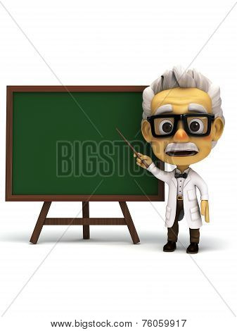 professor in front of green board