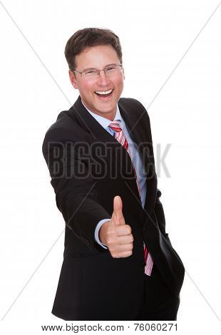 Business Executive Giving A Thumbs Up