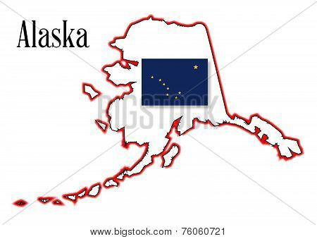 Alaska State Flag And Map