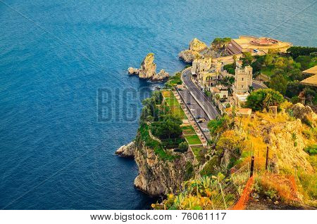 Aerial View Of The Quayside Of Taormina