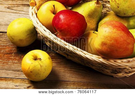 Fresh Harvest Of Apples And Pears.