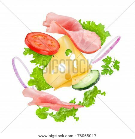 Delicious Sandwich Ingredients In The Air On An Isolated White Background
