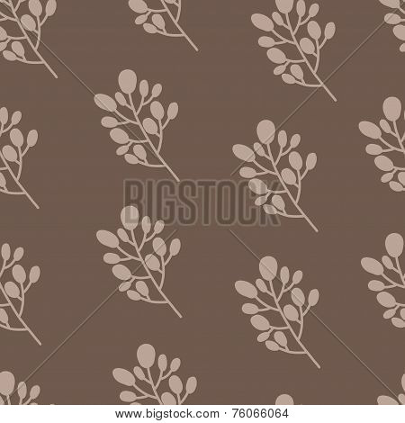 Seamless nature pattern with graphic brunch.  Hand drawing leavs vector illustration.