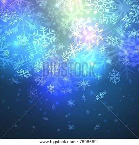 Abstract night magic snowfall Christmas vector background.