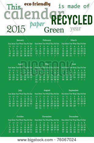 Wall calendar in minimalistic style. Vector illustration. 2015 calendar grid.