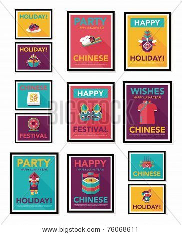 Chinese New Year Poster Flat Banner Design Flat Background Set, Eps10