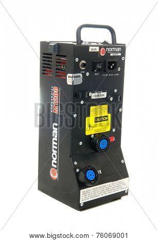 Hayward, Ca - 23 October, 2014: Norman strobe lighting equipment powerpack model M1200