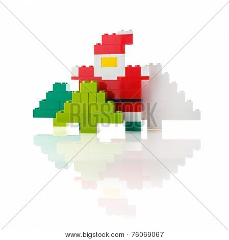 Santa Claus and Christmas tree made from a designer
