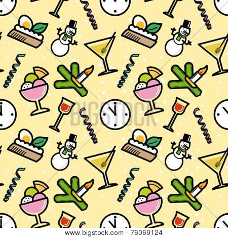 New Year`s Eve party symbols seamless pattern. Editable vector illustration.