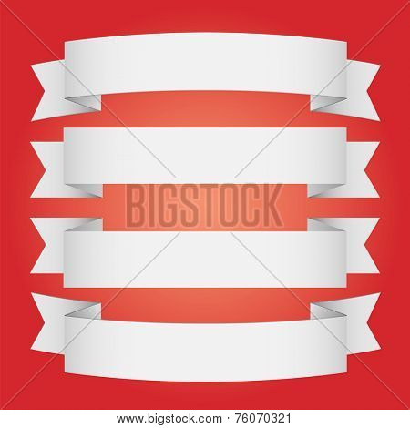Set of banners on red - vector illustration