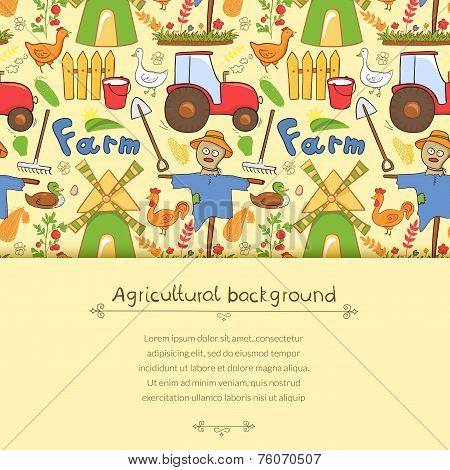 Vector illustration farm elements in doodle style