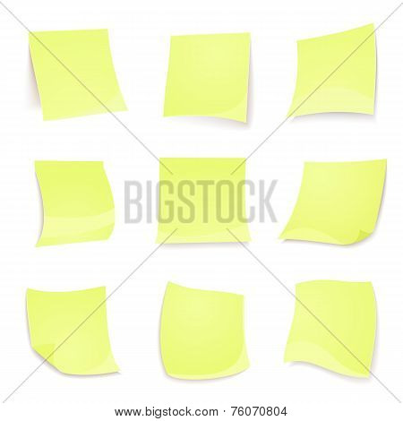 Vector green stick note isolated on white background
