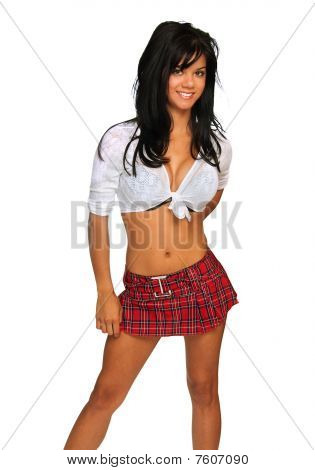 Beautiful young woman wearing plaid skirt