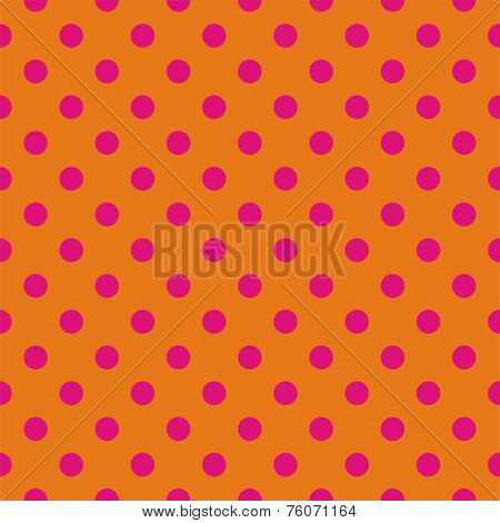Tile vector pattern with pink polka dots on orange background