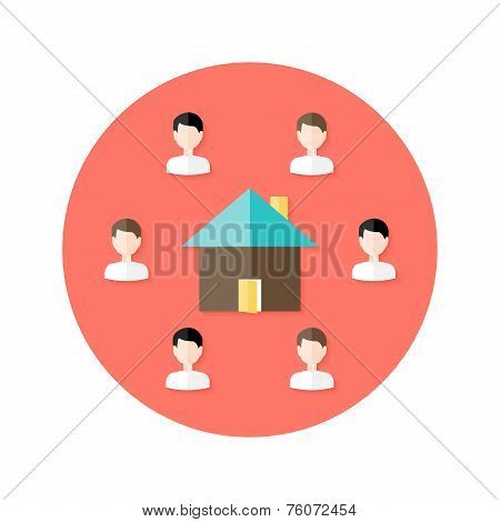 Real Estate Open House With People Circle Flat Icon