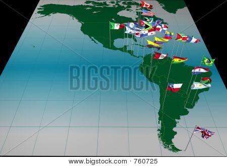 Banderas de América mapa (vista de todo el continente)