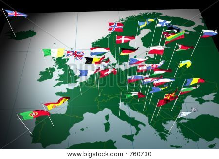European Flags on Map (South view)