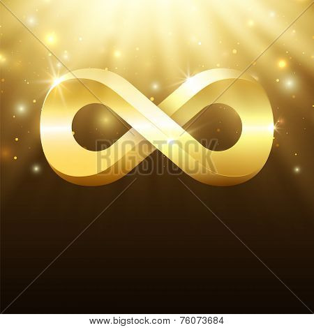 Abstract background with light rays, stars and gold infinity symbol