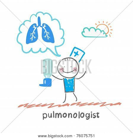 pulmonologist pulmonologist with asthma spray