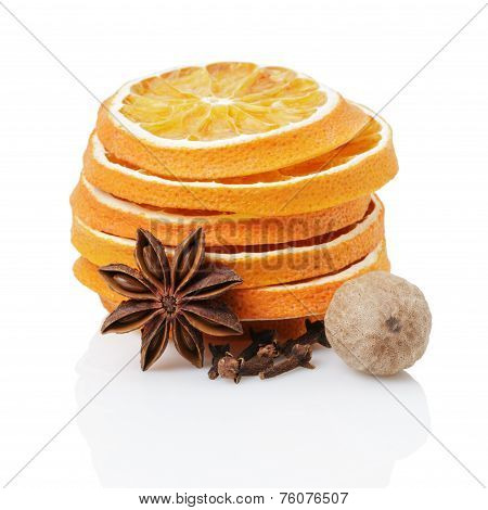 Dried Orange Slices With Anise Star, Nutmeg And Cloves