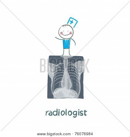 Radiologist with X-ray images