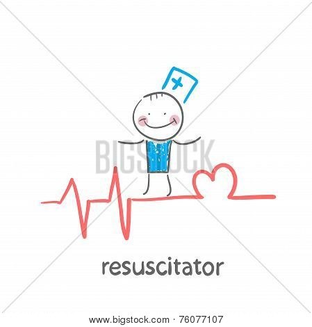 resuscitation is on the line showing the beating of the heart