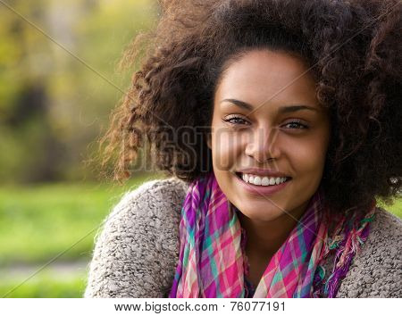 Beautiful Young African American Woman Smiling Outdoors