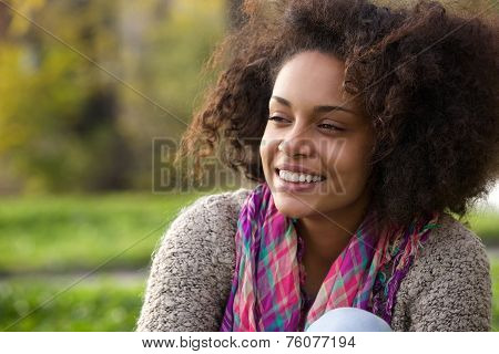Happy Young African American Woman Smiling Outdoors