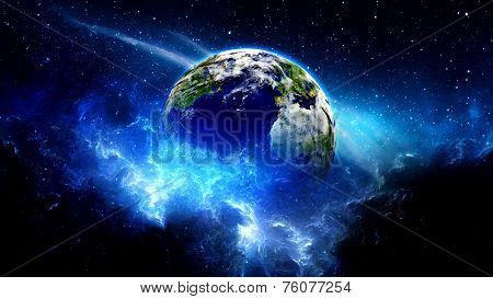 Planet Earth with sun in universe or space, Globe and galaxy in a nebula cloud