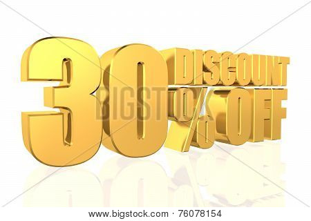 Discount 30 Percent Off. 3D Illustration.