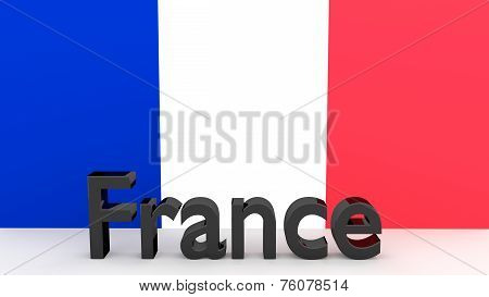 Writing France In Front Of A French Flag