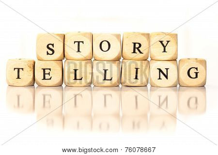 Story Telling Spelled Word, Dice Letters With Reflection