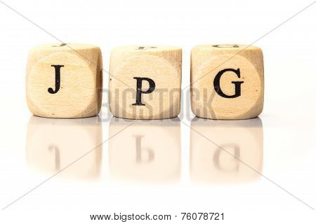Jpg Spelled Word, Dice Letters With Reflection
