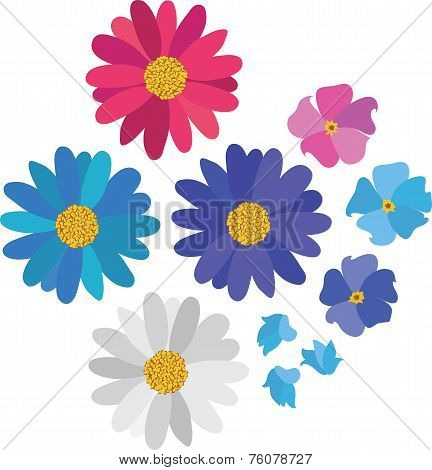 Simple flower daisy collection isolated on white