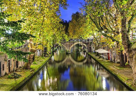 Double Arc Bridge Across Canal In The Center Of Utrecht