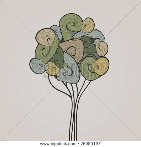 Nature Vector Banner. Abstract Waves Tree. Ecological Design Tem