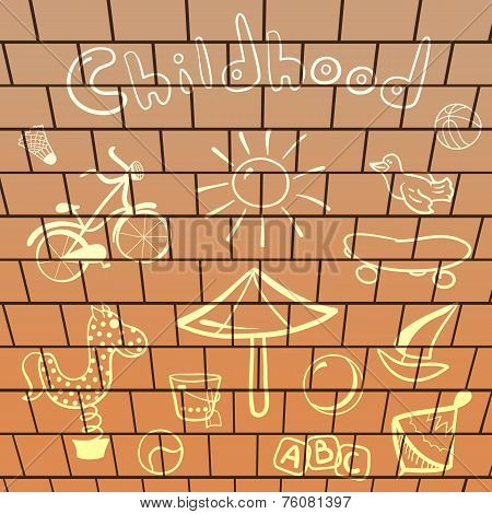 Vector elements playground, hand-drawn on brick wall background