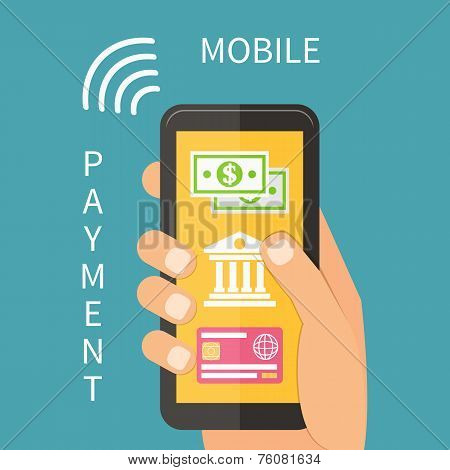 Mobile payment using smartphone, online banking.