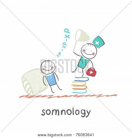 somnology standing on a pile of books and catches the patient's snoring