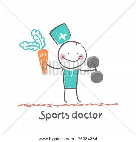 Sports doctor offers a carrot and holding dumbbells