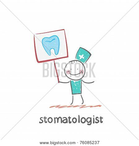 stomatologist with a placard on which painted a tooth