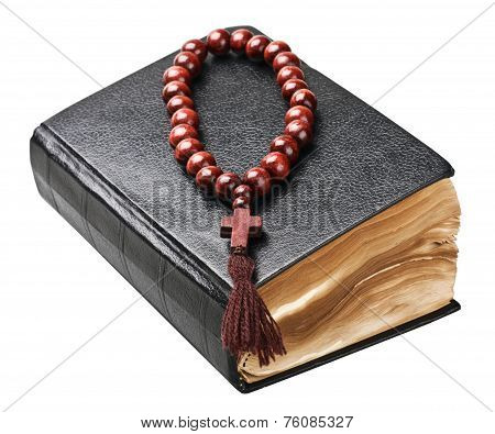 Bible And Rosary Isolated On White Background