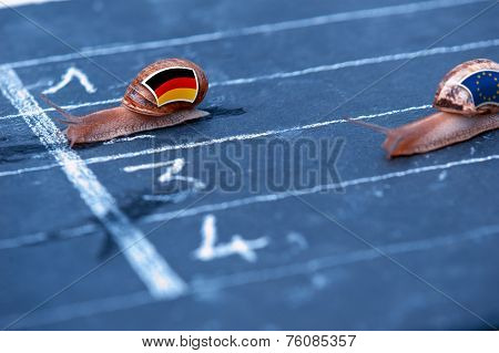 Snails Race Metaphor About Germany Against Europe