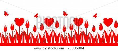Heart Flowers Border