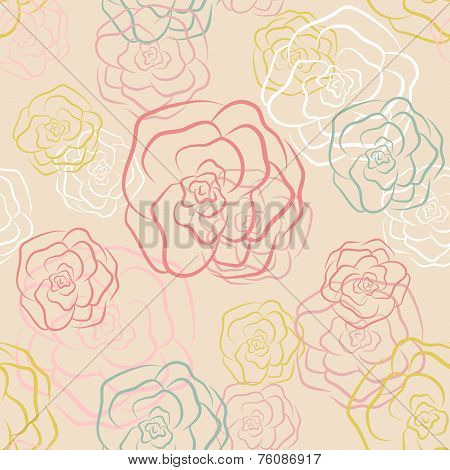 Calm floral rose seamless pattern in pastel colors